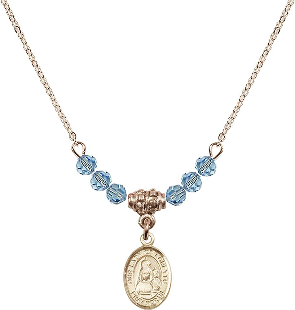 18-Inch Hamilton Gold Plated Necklace with 4mm Aqua Birthstone Beads and Gold Filled Our Lady of Loretto Charm.