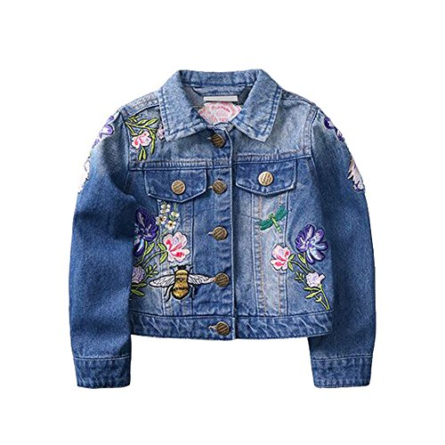 Kids Toddler Baby Girls Embroidered Reversible Jeans Denim Jacket Coat with Flower Sequin Embroidery (2-3T)