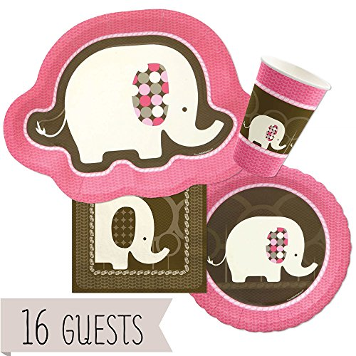 Pink And Brown Party Supplies (Pink Elephant -  Party Tableware Plates, Cups, Napkins - Bundle for 16)