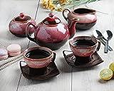 7 cup tea pot - Store Indya, 7 PCS Ceramic Morning Tea Set Infuser Maker with Tea,Milk & Sugar Pot 2 Cups and 2 Saucers Set Kitchen Dining Serveware Accessories (Pink)