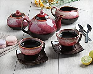 Store Indya, 7 PCS Ceramic Morning Tea Set Infuser Maker with Tea,Milk & Sugar Pot 2 Cups and 2 Saucers Set Kitchen Dining Serveware Accessories (Pink)