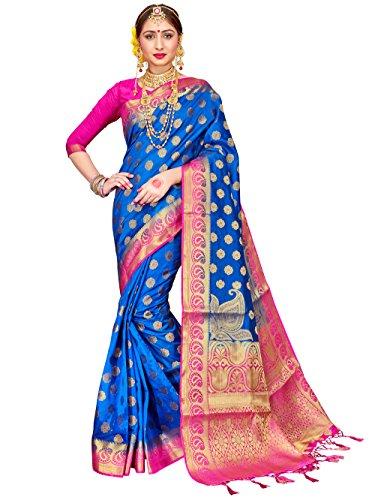 ELINA FASHION Sarees for Women Banarasi Art Silk Woven Work Saree l Indian Wedding Traditional Wear Sari and Blouse Piece (Blue Silk Sari Saree)