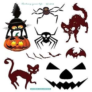 Halloween Temporary Tattoo Pumpkin Cat Spider styles