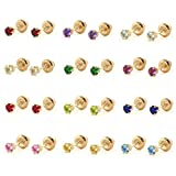 Girls Jewelry - 14K Yellow Gold Birthstone Screw Back Stud Earrings