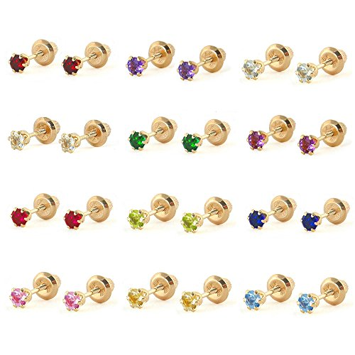Girls-Jewelry-14K-Yellow-Gold-Birthstone-Screw-Back-Stud-Earrings