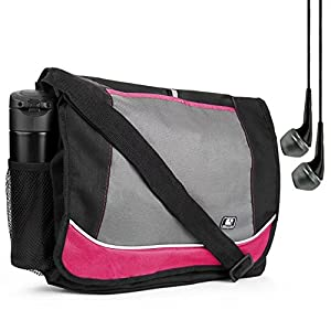 Magenta Premium PU Leather SumacLife Briefcase Laptop bag for HP ProBook Fit 12.2 13.3 14 15.6 inch laptop + Earphone with Mic