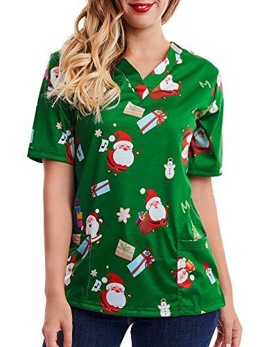 SATINIOR Women Mock Wrap Top Holiday Christmas Print V Neck Shirt (Christmas Green, L)