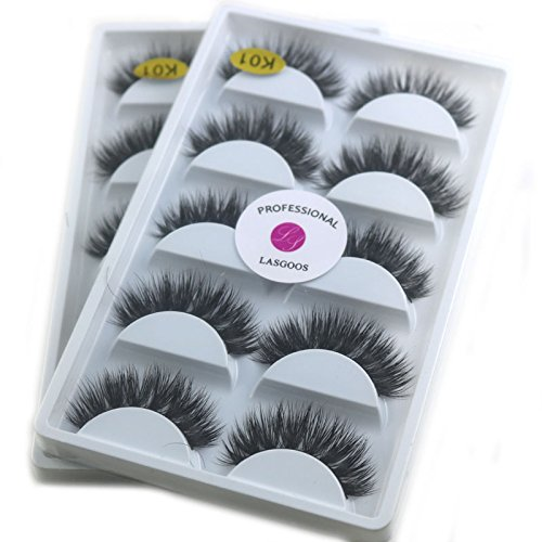 2Box/Lot 3D Real Mink False Eyelashes LASGOOS 100% Siberian Mink Fur Luxurious Wispy Natural Cross Thick Long 10 Pairs Fake Eye Lashes K01