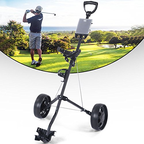 MD Group Golf Cart Holder Trolley Foldable 2 Wheels Push Pull Foldable Design Lightweight Equipment by MD Group
