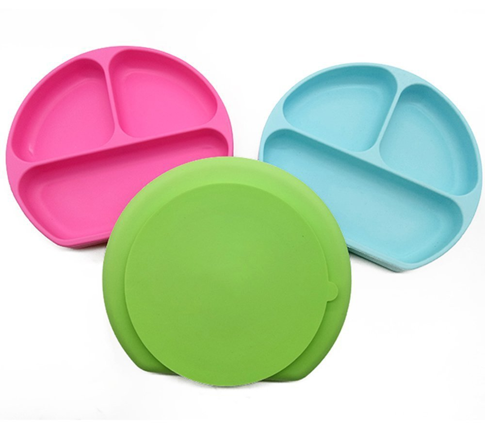 SiliKong Silicone Suction Plate for Toddlers, Fits Most Highchair Trays, BPA Free, Divided Baby Feeding Bowls Dishes for Kids (Green) by SiliKong (Image #7)