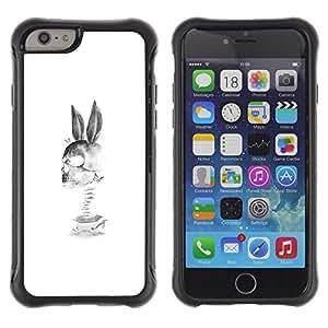 LASTONE PHONE CASE / Suave Silicona Caso Carcasa de Caucho Funda para Apple Iphone 6 / Rabbit Skull Death Funny Black White