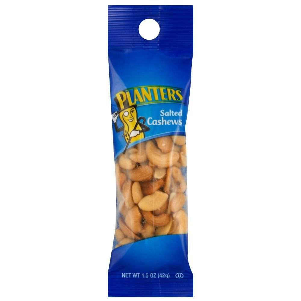 Planters Salted Cashew Tube.99 Each, 1.5 Ounce 18 Count - 6 Case