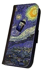 iPhone 6 PLUS Flip Case, Doctor Who Tardis Vincent van Gogh inspired Design, Wallet Case, Book Style Case, Bi-Fold Case, By Sublifascination, No. 370