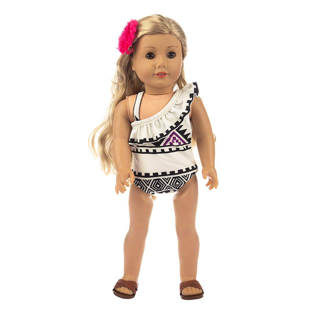 Prevently New Cute Doll Printing One-piece Swimsuit Clothes Fits Outfit For 18 Inch Girl Dolls Accessories