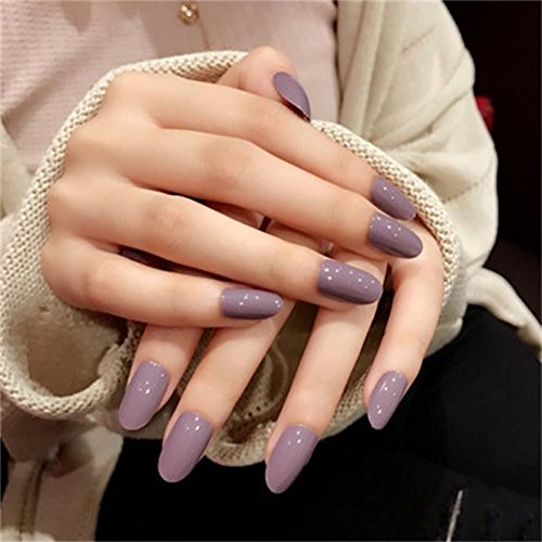 JINDIN 24 Sheet Acrylic Fake Nails with Design Short Full Cover False Nail Tips for Women Girls Finger Nails Decor