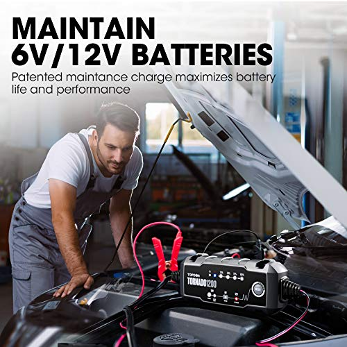 Car Battery Charger Trickle Charger Automotive, TOPDON TORNADO1200 6V 12V 1.2 Amp Portable Smart Battery Charger & Maintainer Desulfator Fully Automatic for Car Truck Motorcycle ATV SUV Marine Boat