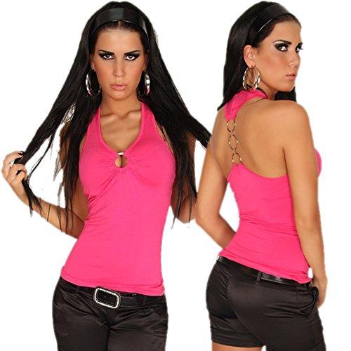 In - Stylefashion - Débardeur - Maillot de corps - Uni - Col Chemise Classique - Femme Taille Unique -  Rose - Taille Unique