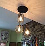YOBO Lighting Antique 3-lights Oil Rubbed Bronze Chandelier with Wire Cage