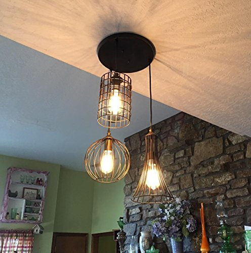 Review YOBO Lighting Antique 3-lights Oil Rubbed Bronze Chandelier with Wire Cage