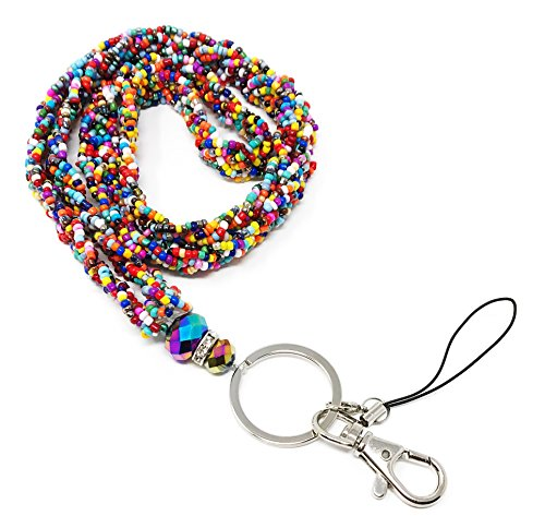 (WigsPedia Braided Colored Mini Seed Bead Lanyard with Jeweled Accents with Keychain Key/Id/Cell Phone Holder)