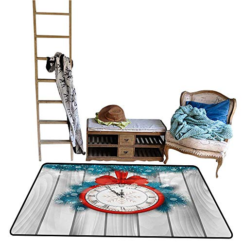 - Jouiysce Carpet Kitchen and Corridor Clock,New Year Celebration Midnight A Clock and Fir Pine Tree Branch Illustration,Red and Pale Grey.jpg 48