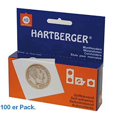 100 x 25 Mm hartberger münzrähmchen coinholder self adhesive autocollant