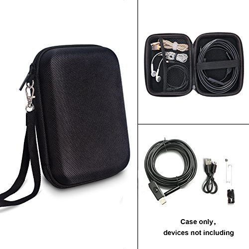 Endoscope Case, TyhoTech Borescope Camera Case for Depstech USB Endoscope, also for Goodan, Shekar, Pancellent, Fantronics, Sokos, Maximum Length of 5M Cable (Black) (Borescope Accessories)