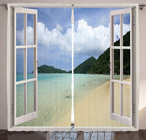 indow Decor Curtains by, Tropical Island Beach View and Dreamy Summer Vacation Scenery Design, Window Drapes 2 Panel Set for Living Room Bedroom, 108 X 84 Inches, Blue and Green ()