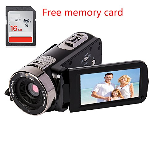 Camcorder gift for kids full HD 1080P 24MP 16X Digital Zoom Infrared night Video Camcorders with 270 Degree Rotation Screen night shoot Free 16G memory card