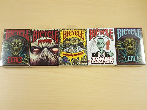 Haloween Lot 5 Bicycle Playing Cards Zombified, Everyday Zombies, Zombie, Eerie Red and Eerie Purple Decks by Bicycle