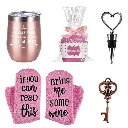 Wine Tumbler Cupcake Wine Socks Gift Set, Birthday Christmas Gift for Girlfriend Lover Women Girls, Stainless Steel Tumbler, Socks, Bottle Opener, Wine Stopper