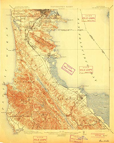 (YellowMaps San Mateo CA topo map, 1:62500 Scale, 15 X 15 Minute, Historical, 1899, Updated 1901, 20.7 x 16.6 in - Paper)