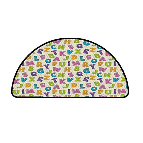 Kids Comfortable Semicircle Mat,Cute Funny Letters in Lively Colors Cartoon Style ABC Alphabet on Polka Dots Backdrop Decorative for Living Room,19.6