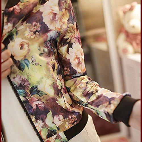 Amlaiworld Femmes debout collier tirette Floral imprimé blouson