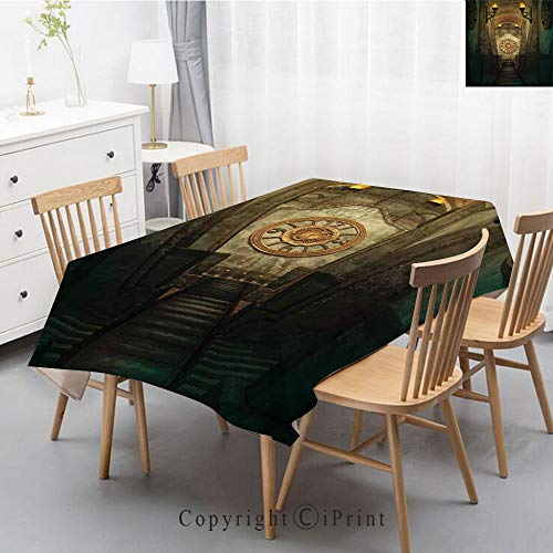 Plaid Decorative Linen Tablecloth With Tassel Oilproof Thick Rectangular Wedding Dining Table Cover Tea Table Cloth,40x60 Inch,Arrow,Medieval Passage with Torch and Clock on Wall Mystery in Print Deco -