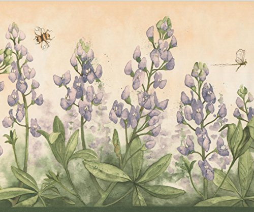 Purple Flowers Bumble Bee Dragonfly Merigold Orange Wallpaper Border Retro Design, Roll 15' x 9