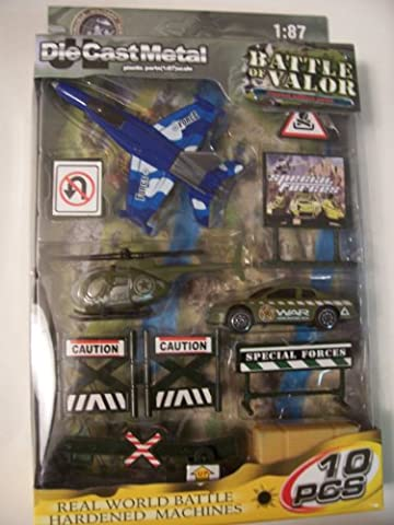 Battle of Valor Combat Military Series Die-cast Metal 1:87 Scale 10 Piece Set ~ F-18 Blue Hornet, Camo Heli, Rapid Response Vehicle, and (Military Vehicles 1 18)