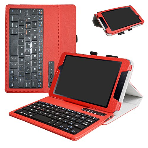 Samsung Galaxy Tab A 8.0 2017 Bluetooth Keyboard Case,Mama Mouth Slim Stand PU Leather Cover with Romovable Bluetooth Keyboard for Samsung Galaxy Tab A2 S/Tab A 8.0 SM-T380 T385 Tablet,Red by MAMA MOUTH