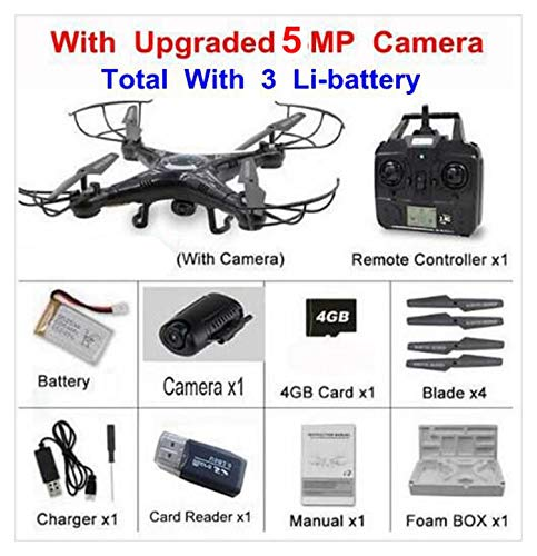 X5C Series X5C-1 RC Selfie Drone Quadcopter Helicopter with Sd Card HD Camera VS syma x5c x5sw x8 pro,Black x5c 5mp 3b
