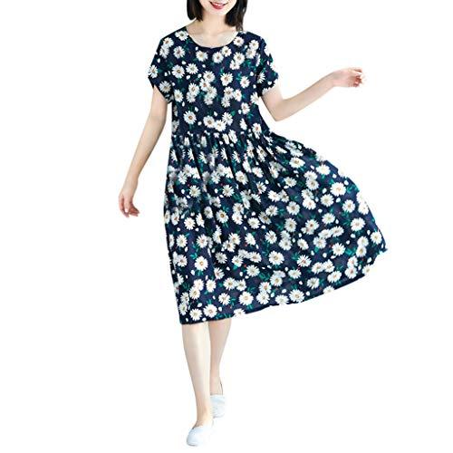 - Women's Cotton Casual Dress Vintage Print Short Sleeve Ladies O-Neck Knee-Length Navy