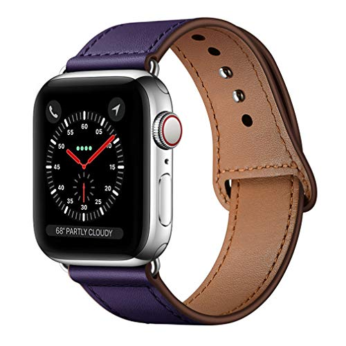 (KYISGOS Compatible with iWatch Band 44mm 42mm, Genuine Leather Replacement Band Strap Compatible with Apple Watch Series 4 Series 3 Series 2 Series 1 42mm 44mm, Purple)