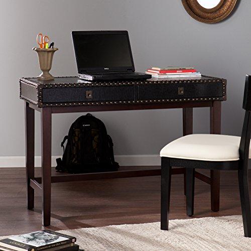Southern Enterprises Rinaldi Faux Leather Writing Desk in Black
