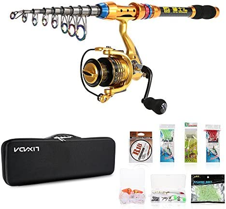 Lixada Spinning Rod and Fishing Reel Combos Kit Telescopic Fishing Rod Pole