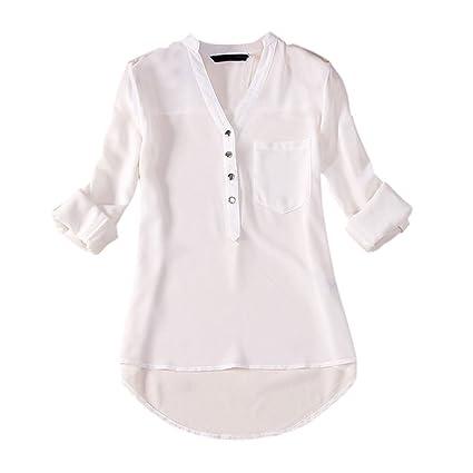 SODIAL(R) Otono Camiseta suelta de manga larga de moda de senora de chiffon