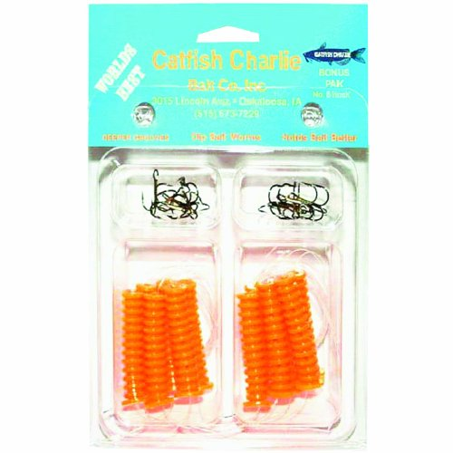 Catfish Charlies DBH-12-02 Dip Bait Worms-Pack of 12, Orange