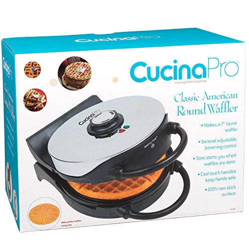 Waffle Maker- Non-stick American Waffler Iron with Adjustable Browning Control- Beeps When Ready by CucinaPro (Image #5)