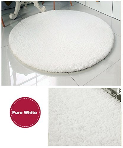 Super Soft Pure White Round Area Rug Kids Rugs Artic Velvet Mat with Plush and Fluff for Bedroom Floor Bathroom Pets Home Hotel Mat Rug (3' Round, Pure White) by HUAHOO (Image #1)