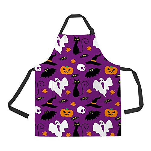 - Funny Hallowen Time Ghost Pumpkin Halloween Unisex Adjustable Bib Apron with Pockets for Home Kitchen Use