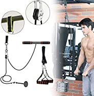 CELLTEK Weight Pulley System,11pcs Fitness DIY Cable Pulley System with Loading Pin,Foam Handle for Pulldowns,