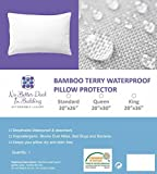 Bamboo Terry Pillow Protector Cover - Set of 2 - 100% Waterproof - Zippered encasement case-Dust Mite-Bed Bug Proof-Hypoallergenic-Eco-friendly-No Better Deal in Bedding (Standard/queen)
